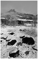 Castle Meadow and Castle, winter. Capitol Reef National Park, Utah, USA. (black and white)