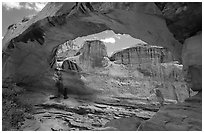 Hickman Bridge natural arch. Capitol Reef National Park ( black and white)