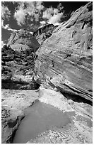 Pockets of water in Waterpocket Fold near Capitol Gorge. Capitol Reef National Park ( black and white)