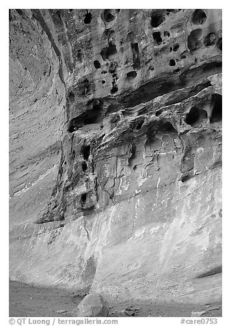 Holes in rock, Capitol Gorge. Capitol Reef National Park (black and white)