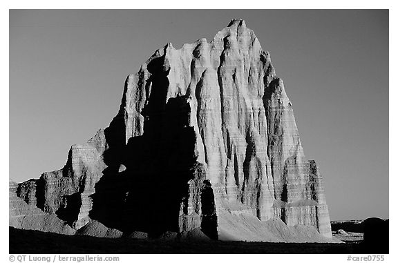 Temple of the Sun, sunrise, Cathedral Valley. Capitol Reef National Park (black and white)