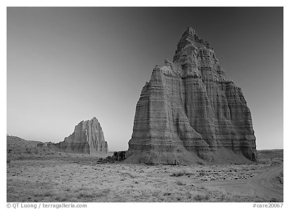 Temples of the Sun and Moon, dawn. Capitol Reef National Park (black and white)