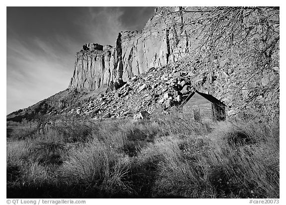 Historic Fuita school house and cliffs. Capitol Reef National Park (black and white)