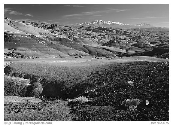 Bentonite hills and Henry Mountains. Capitol Reef National Park (black and white)