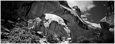 Hickman natural arch. Capitol Reef National Park (Panoramic black and white)