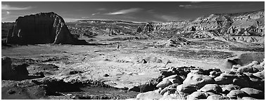 Vast desert landscape, Cathedral Valley. Capitol Reef National Park (Panoramic black and white)