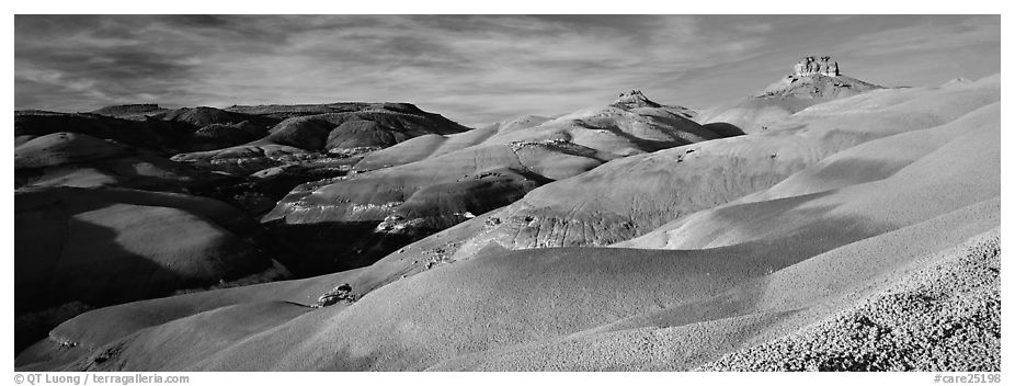 Bentonite hills landscape, Cathedral Valley. Capitol Reef National Park (black and white)