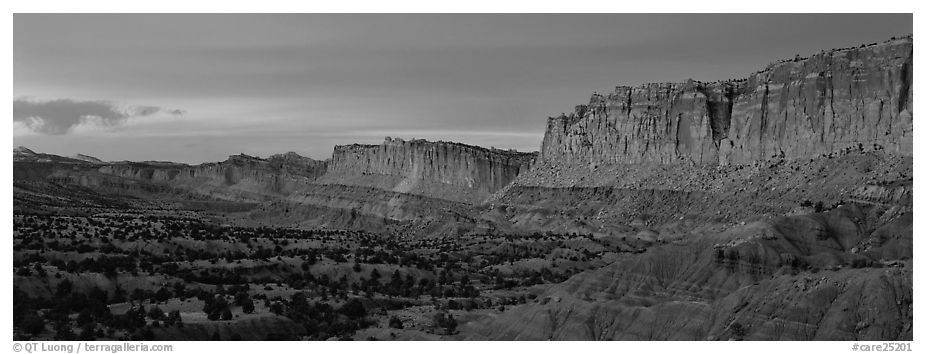 Sandstone cliffs at sunset. Capitol Reef National Park (black and white)