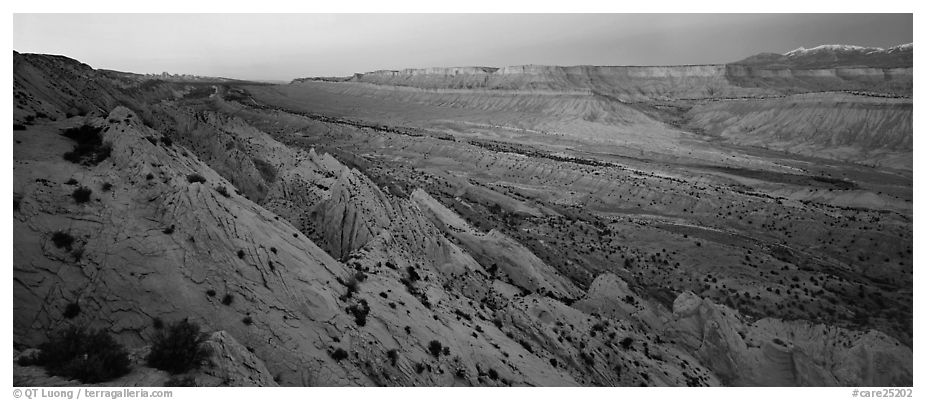 Earth crust wrinkle of  Waterpocket Fold at dusk. Capitol Reef National Park (black and white)