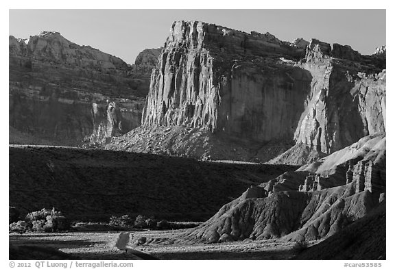 Cliffs near Fruita at sunset. Capitol Reef National Park (black and white)