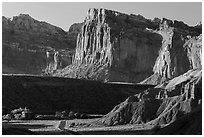 Cliffs near Fruita at sunset. Capitol Reef National Park ( black and white)