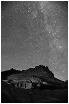 Castle by night. Capitol Reef National Park, Utah, USA. (black and white)