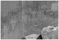 Fremont Petroglyphs of human figures. Capitol Reef National Park ( black and white)