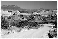 Waterpocket Fold and gravel road called Burr trail. Capitol Reef National Park, Utah, USA. (black and white)