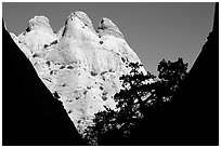 Sandstone towers seen from Surprise Canyon. Capitol Reef National Park ( black and white)