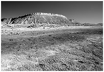Colorful Bentonite flats and cliffs. Capitol Reef National Park ( black and white)