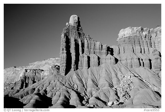 Layered Moenkopi shale and sandstone, Chimney Rock. Capitol Reef National Park (black and white)
