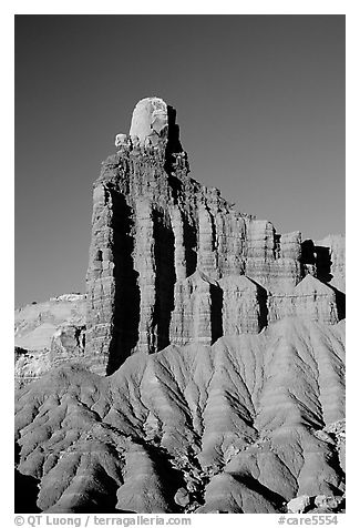 Chimney Rock at sunset. Capitol Reef National Park (black and white)