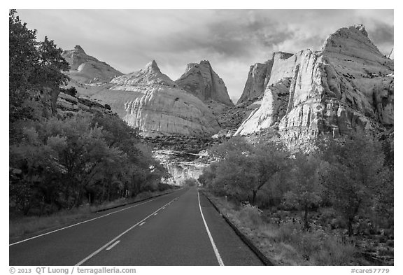 Road and domes in Fremont River Canyon. Capitol Reef National Park (black and white)