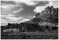Late afternoon light on Castle and cottowoods in autumn. Capitol Reef National Park ( black and white)