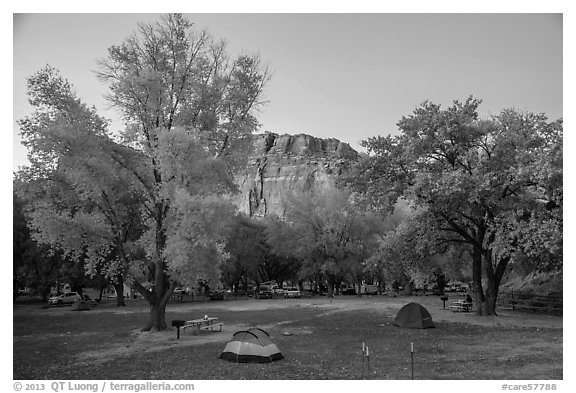 Fruita Campground at dusk. Capitol Reef National Park (black and white)