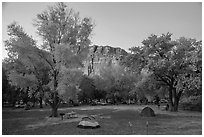 Fruita Campground at dusk. Capitol Reef National Park ( black and white)