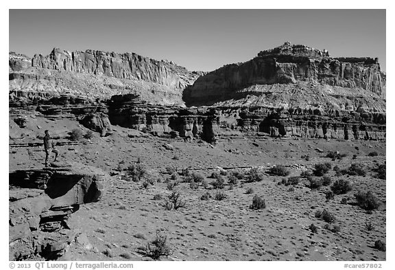 Park visitor looking, Sunset Point. Capitol Reef National Park (black and white)