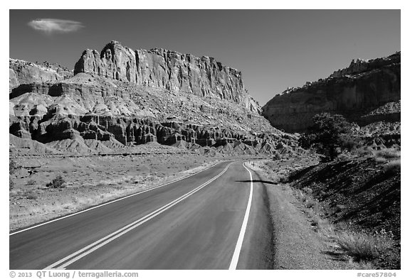 Road and cliffs. Capitol Reef National Park (black and white)