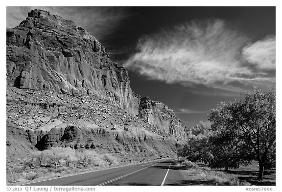 Rood, cliffs, and orchard in autumn. Capitol Reef National Park (black and white)