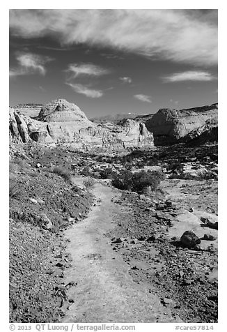 Primitive trail on natural slab. Capitol Reef National Park (black and white)