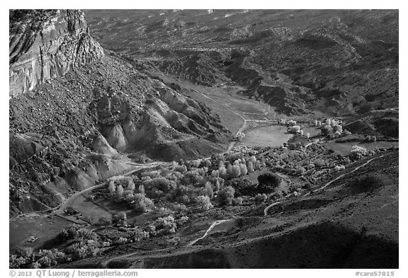 Fruita campground from above in autumn. Capitol Reef National Park (black and white)