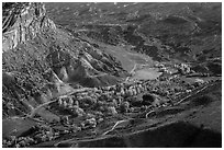 Fruita campground from above in autumn. Capitol Reef National Park, Utah, USA. (black and white)