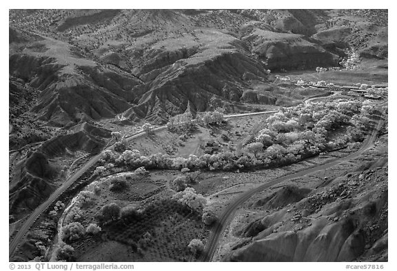Fruita historic orchards from above in autumn. Capitol Reef National Park (black and white)