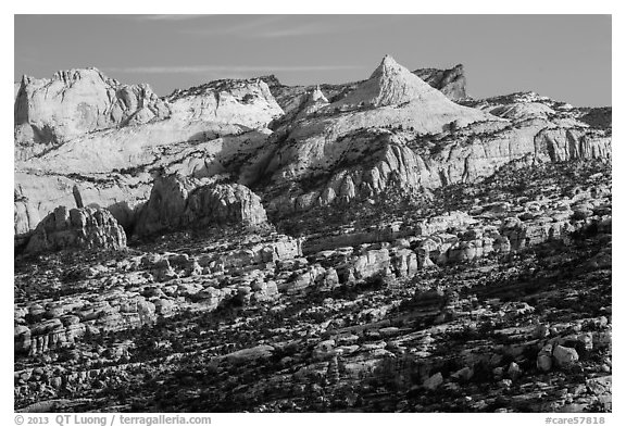 Domes in Navajo Sandstone along monocline. Capitol Reef National Park (black and white)