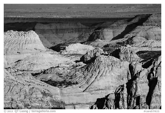 Navajo Sandstone domes across Waterpocket Fold. Capitol Reef National Park (black and white)