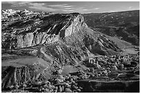Waterpocket Fold cliffs and orchards from Rim Overlook in the fall. Capitol Reef National Park ( black and white)