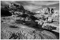 Sandstone swirls and domes, North Rim. Capitol Reef National Park ( black and white)