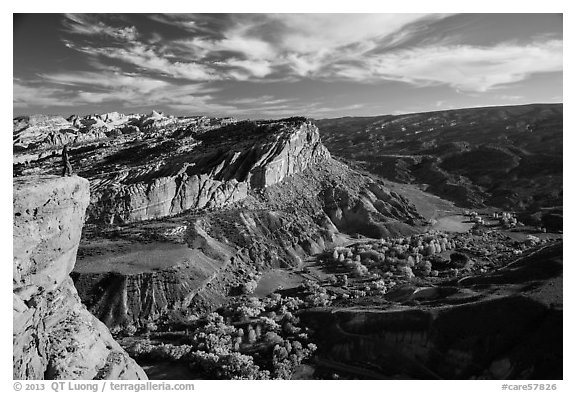 Park visitor looking, Rim Overlook over Fruita. Capitol Reef National Park (black and white)
