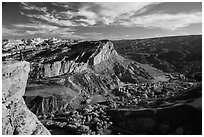 Park visitor looking, Rim Overlook over Fruita. Capitol Reef National Park ( black and white)