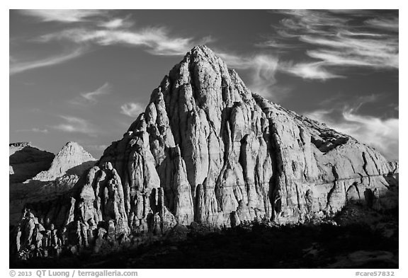 Pectol Pyramid, late afternoon. Capitol Reef National Park (black and white)