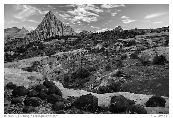 Black volcanic boulders and Pectol Pyramid. Capitol Reef National Park (black and white)