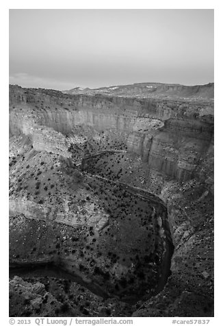 Sulfur Creek Goosenecks and Waterpocket Fold at dawn. Capitol Reef National Park (black and white)