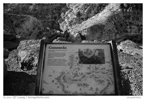 Interpretive sign, Sulfur Creek Goosenecks. Capitol Reef National Park (black and white)