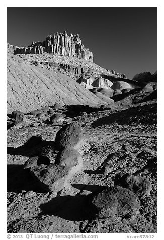 Balsalt Boulders and Wingate Sandstone crags of the Castle. Capitol Reef National Park (black and white)