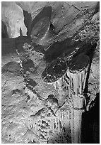 Rare parachute underground formations, Lehman Caves. Great Basin National Park ( black and white)