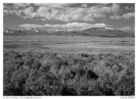 Snake Range raises above Sagebrush plain, seen from the East. Great Basin National Park (black and white)