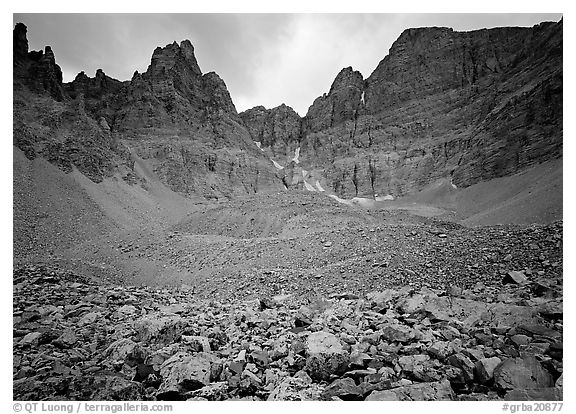 Moraine and North Face of Wheeler Peak. Great Basin National Park (black and white)