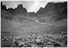 Moraine and North Face of Wheeler Peak. Great Basin National Park, Nevada, USA. (black and white)