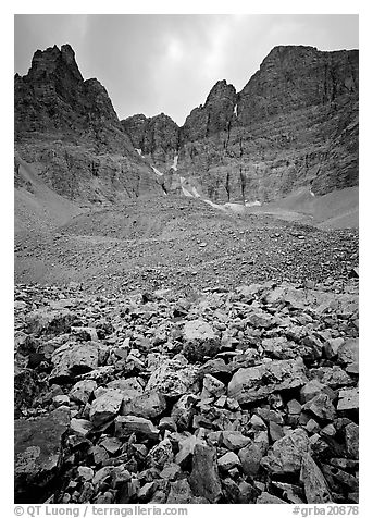 Wheeler Peak Glacier, the lowest in latitude in the US. Great Basin  National Park (black and white)