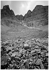 Wheeler Peak Glacier, the lowest in latitude in the US. Great Basin National Park, Nevada, USA. (black and white)